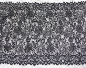 SALE Chantilly Lace Wider Black for Shawls, Mantilla, Victorian Gowns, Table Runner, Lingerie