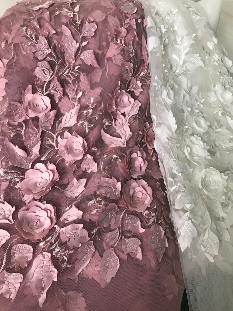 Wedding Dress or Flower Lace Dress Prom Dress 3D Flowers Leaf Lace on Mesh Fabric 51 wide for Skirts