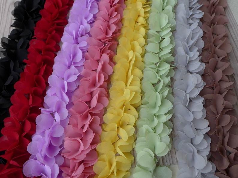1 Yard 3D Rose Flower Chiffon Lace Trim Ribbon Sewing Fabric Cloth DIY Dress Hem
