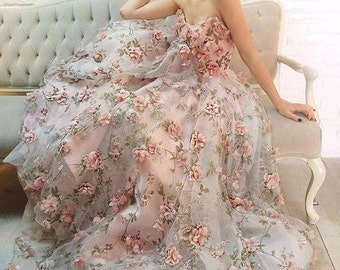 3D Floral lace fabric, organza lace fabric with 3D rosette, Pink flower chiffon fabric, bridal dress Fabric by yard