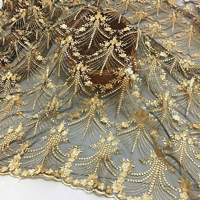 Responsible Skirt Lace Fabric Gold Floral Embroidery Lace Fabric For Wedding Dress French Sew On Tulle Mesh Lace Trim Accessories Diy Home & Garden
