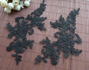 Black Floral Lace Applique Pair for Wedding Dress, Headbands, Jewelry or Costume Design