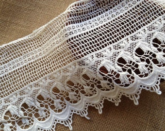 """Off White Crocheted Hollowed Lace Retro Cotton Lace Trim 6.3"""" wide 2 Yards"""