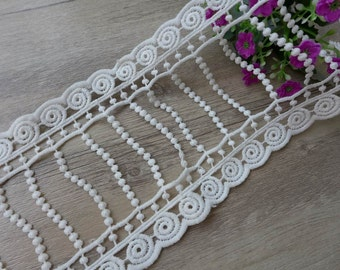 White Venice Lace Crochet Dangle Lace Trim for Bridal Dress, Millinery, Wedding, Costumes