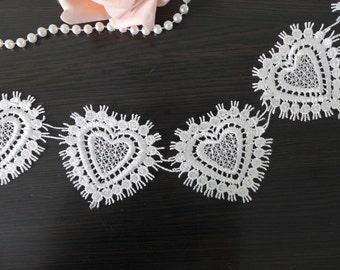Lovely Venise Lace Trim, White Venice Lace, Heart Trim, White Lace Heart Applique