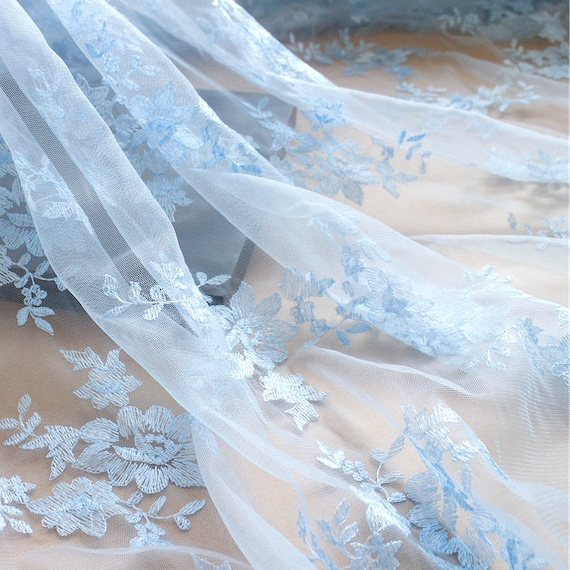 Light Blue Wedding Lace Fabric Sky Blue Flroal Embroidery Lace Fabric Gauze Tulle Bridal Lace Wedding Stage Background 51 Inches Wide