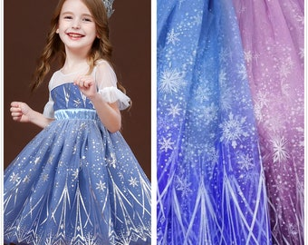Frozen Print Silver Snowflake Tulle lace fabric, Soft Ombre Mesh Polka Dots Fabric For Princess Gown, Party Dress, Birthday Dress, Cosplay