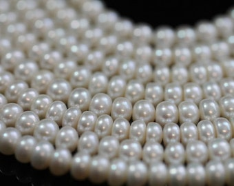 AA Plus Natural White Center-drilled Button Freshwater Pearls, 7 mm, 10 beads (FP0101BT)