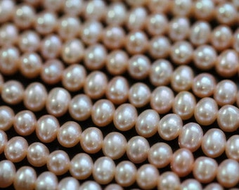 AAA Natural Champagne Peach Center-drilled Potato Freshwater Pearls, 4 - 5 mm, 10 beads (FP0201PO)