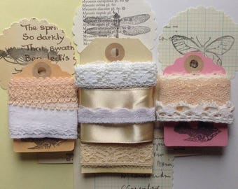 5 metres (5.5 yards) of pinks, creams and whites vintage lace