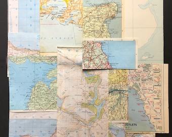 Blue vintage map and atlas ephemera pack