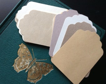 30 tags - vintage paper and mixed kraft, manilla and reclaimed paper - die cuts
