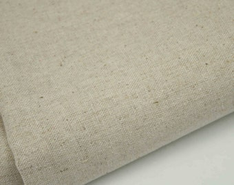 Japanese Linen Mix Fabric 44 wide Blue Ceramics on Natural CottonLinen Blend Fabric FREE UK Delivery Blue Crockery Fabric