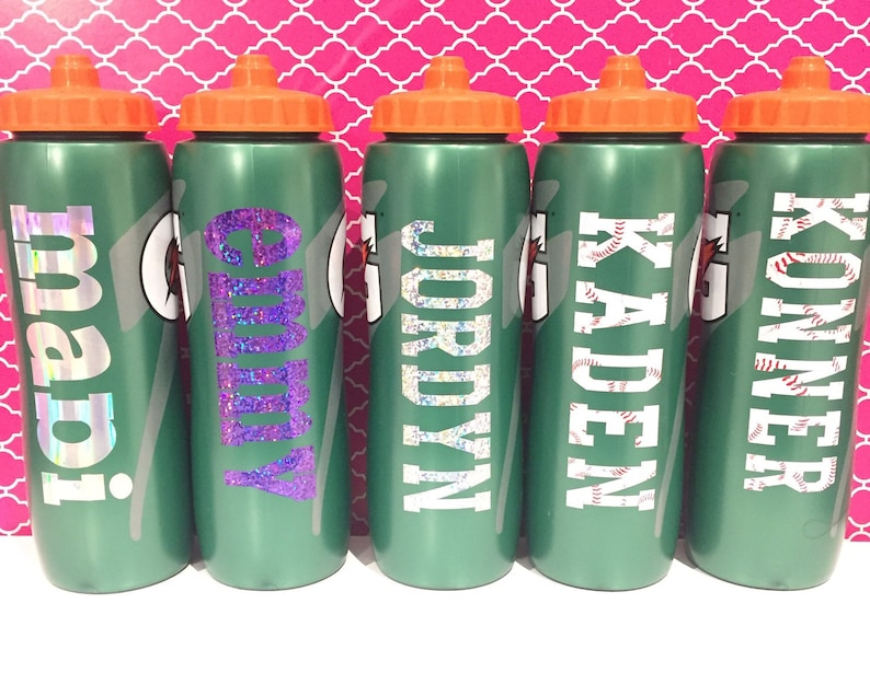 8ac3c5196af4 Personalized 32 oz gatorade squeeze water bottle with vinyl