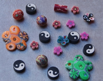 50 assorted beads fimo multicolored 6-23mm hole 1 mm