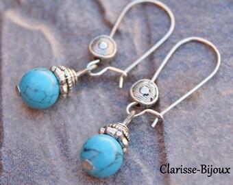 Turquoise Howlite Earrings 15x38mm
