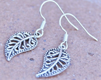 Antique silver Earrings, Leaf Earrings