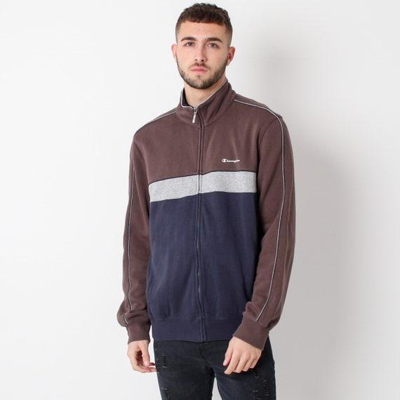 Vintage Champion Jacket Zip Sweatshirt Brown