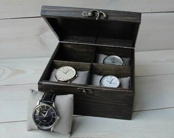 ff17d4f7b7a Watch box Watch case Mens watch box Watch box for men Wooden watch box Watch  box for 4 watches Watch holder Watch storage box Groomsmen Gift