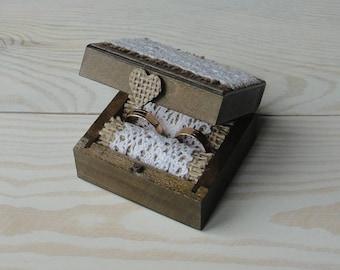 Wedding ring box Wedding ring holder Rustic wedding Ring bearer pillow Ring pillow alternative Wooden ring box Engagement ring box