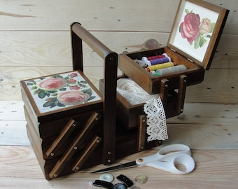 Wooden cantilever sewing box Accordion sewing basket Sewing caddy Jewellery box Craft organizer Thread box Needles box