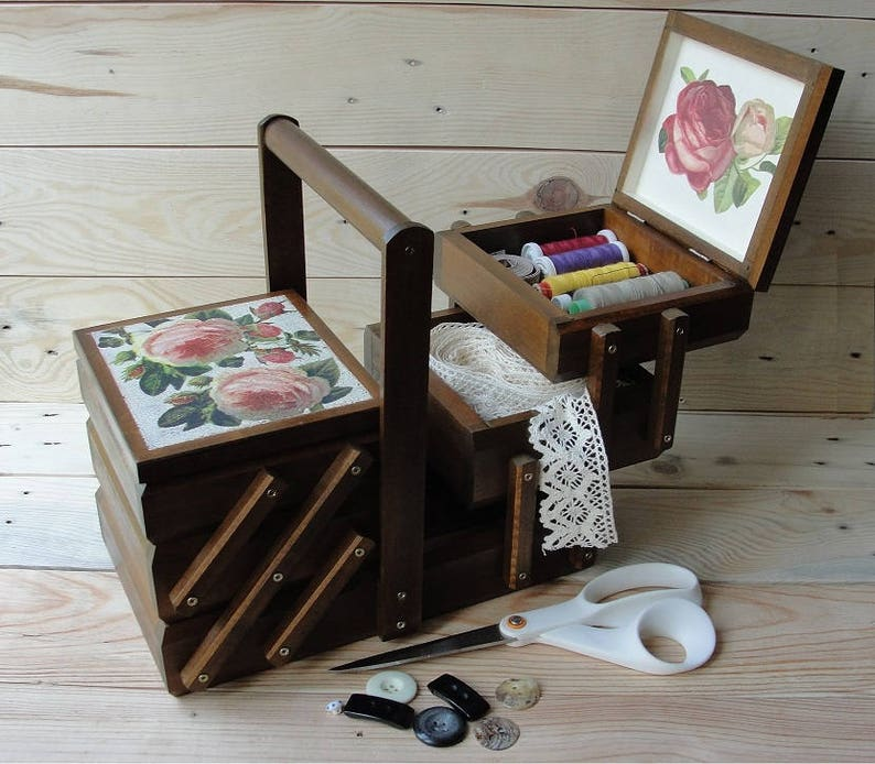 Wooden sewing box Sewing basket Sewing caddy Jewellery box image 0
