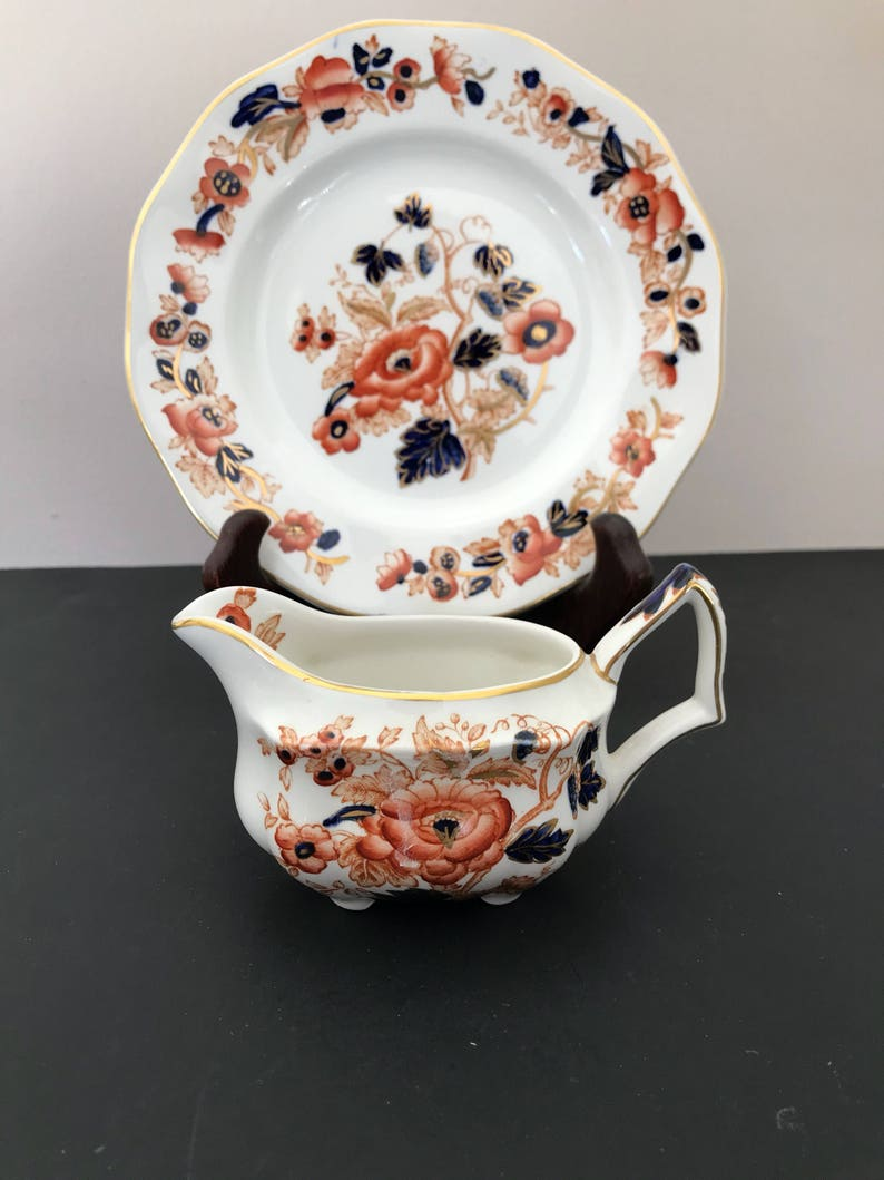 Crown Staffordshire Old Derby Plate Imari Style from England Vintage