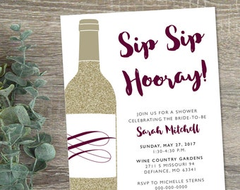 Winery Bridal Shower invitation wine themed shower invite
