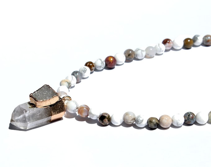 Necklace stones from Brazil and rock crystal pendant