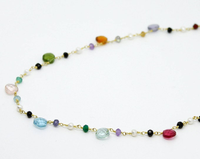 Choker chain and semi precious beads