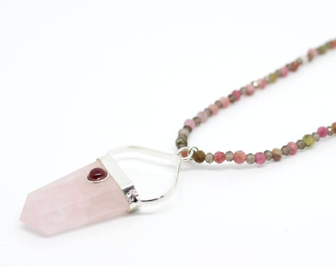 rose quartz pendant necklace tourmaline