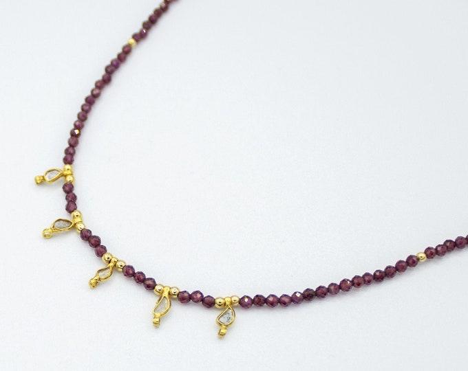"""Featured listing image: Collier """"5 pendentifs Diamant Vermeil et perles en Aigue-Marine"""""""