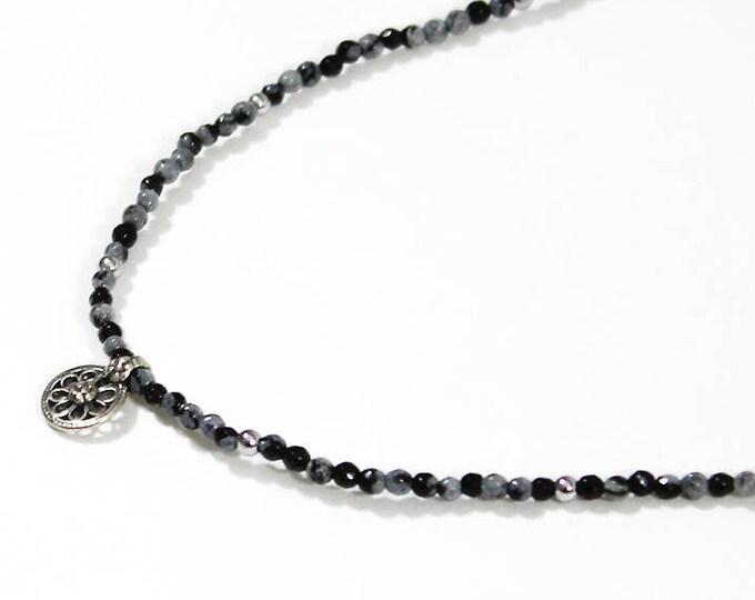 Obsidian and boho pendant Choker