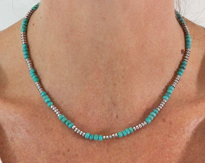 the Choker in turquoise and pyrite beads