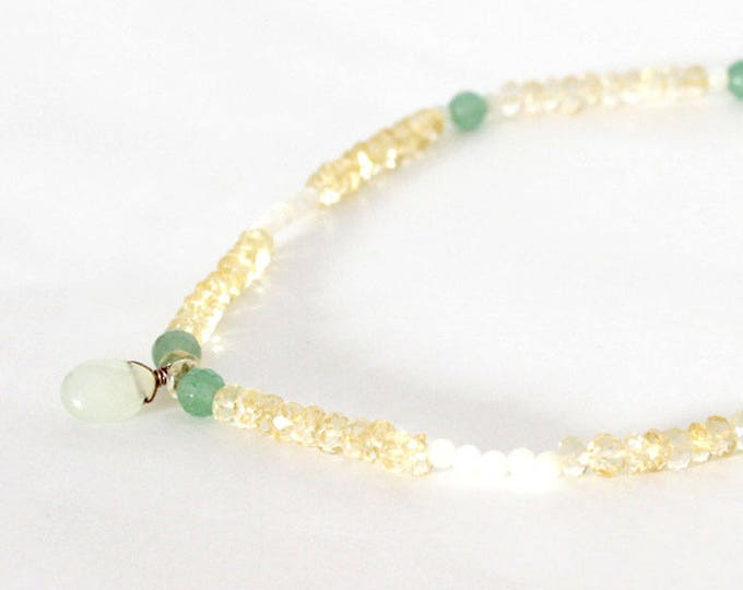 pendant necklace green quartz and citrine beads