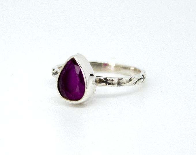 Thin ring with one Ruby - other stones available