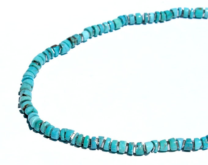 Choker in turquoise and hematite