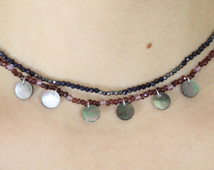 Garnet Choker and mother of Pearl pendants