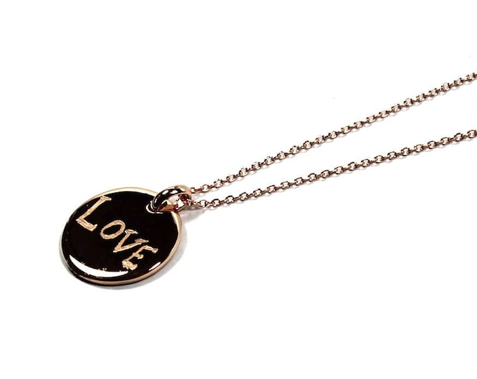 Featured listing image: long necklace with a medal engraved LOVE