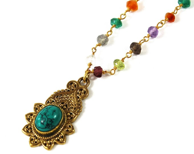 Necklace with pendant and chain with semi precious beads