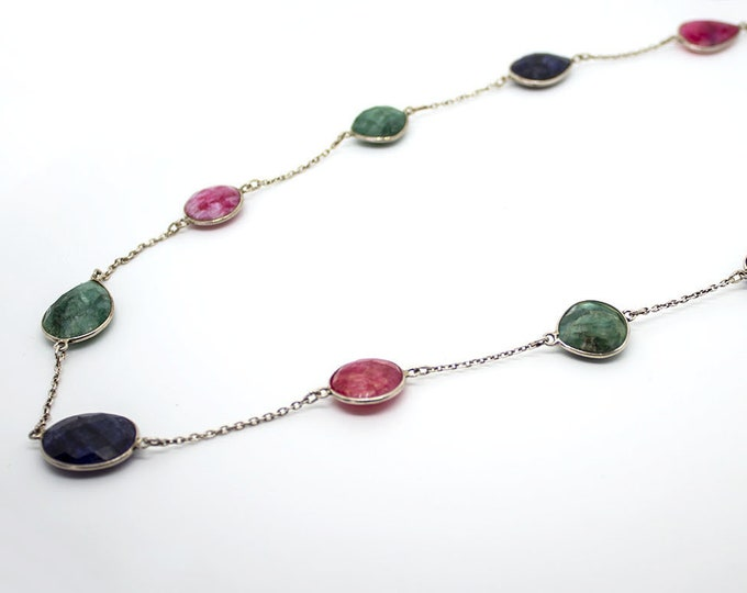 gorgeous necklace with emeralds, rubies and sapphires
