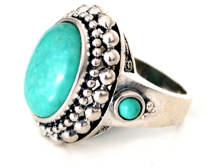 ring with turquoise bohoo