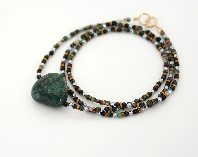 Ruby zoisite bracelet and a Sun - 3 rounds
