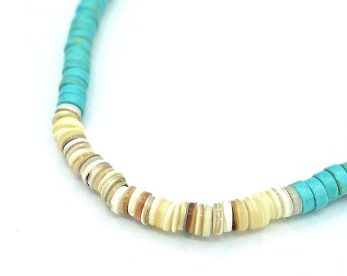 Featured listing image: Ras du cou Hishi avec de grosses perles turquoise et nacre