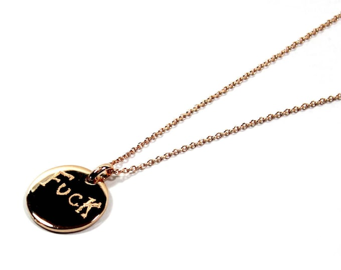 Necklace with a medal engraved FUCK or FUNK