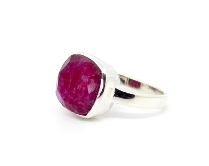 Featured listing image: Ring with one square Ruby (other stones available)