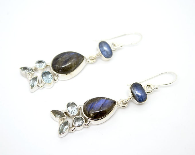 Earrings dangling with stones - available in several colors