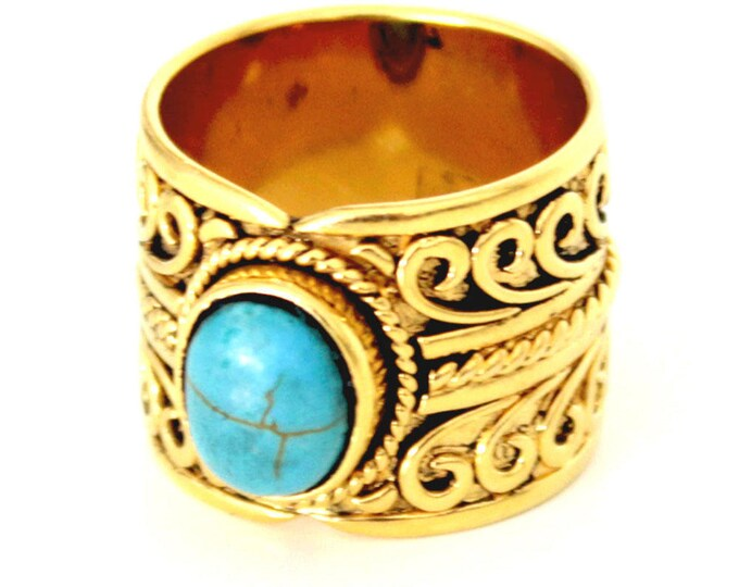 plated ring with turquoise gold