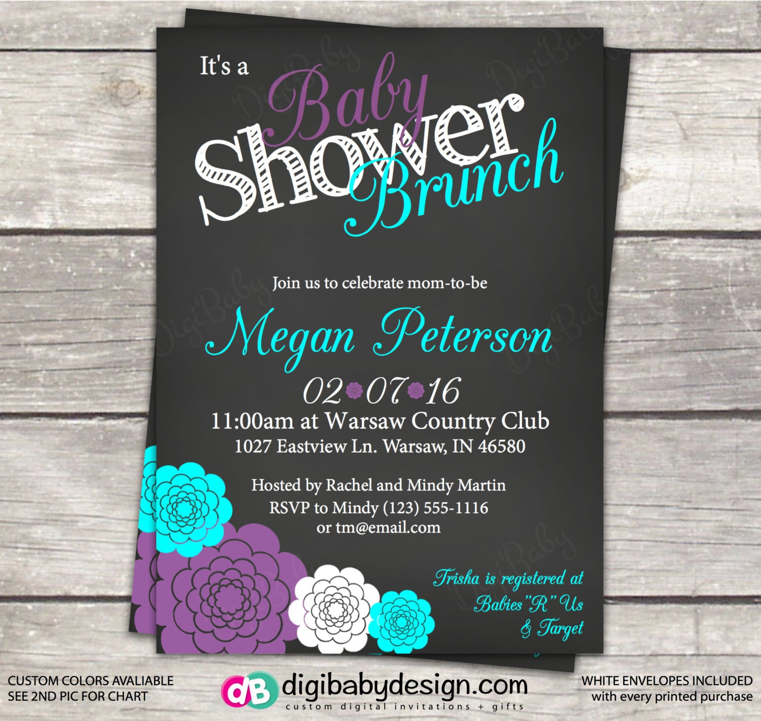 Baby Shower Brunch Invitation Gray Teal And Purple Flowers Etsy