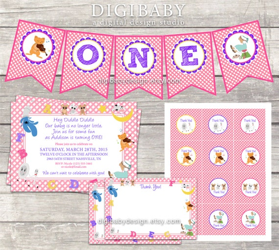 Girls Nursery Rhyme Birthday Invitation PACKAGE Pink Gingham High Chair Banner Thank You Stickers And Cards Printable Digital Files